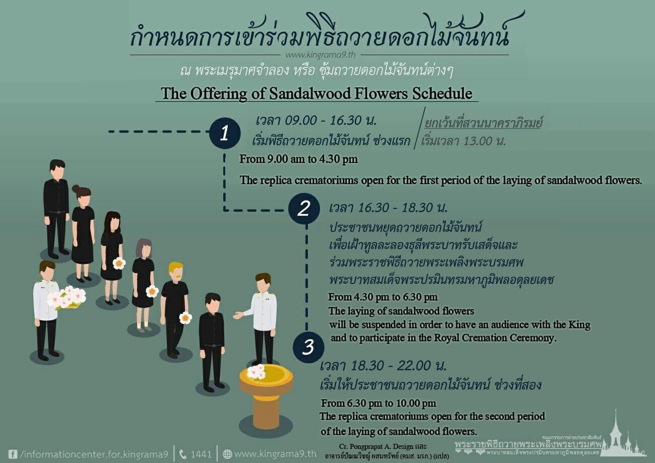 the offering of sandalwood flowers schedule thai chinese Language rama9 of thailand 2